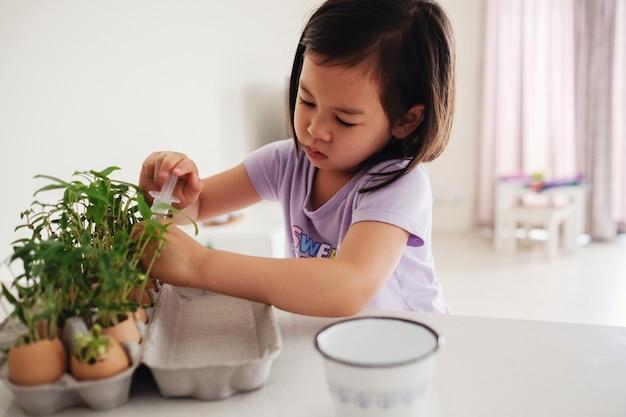 Mieszana azjatycka dziewczyna nawadnia rośliny w eggshells