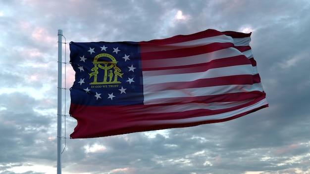 Mieszana flaga usa i gruzji powiewa na wietrze