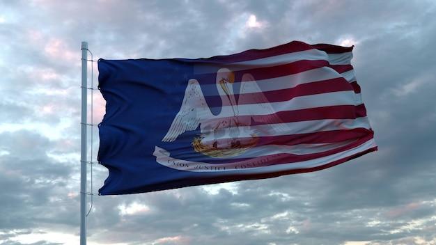 Mieszana flaga usa i luizjany powiewa na wietrze