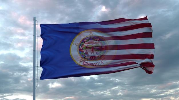 Mieszana flaga usa i minnesoty powiewa na wietrze