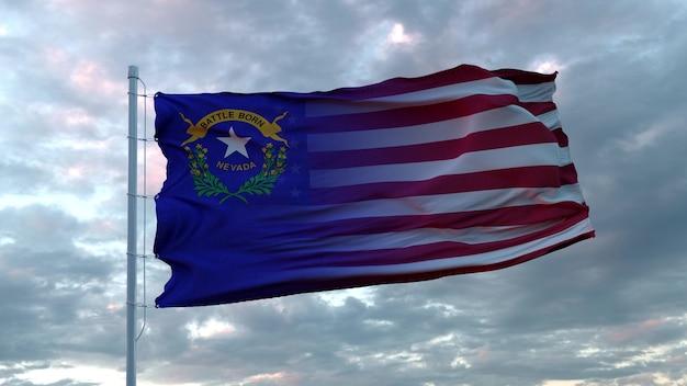 Mieszana flaga usa i nevady powiewająca na wietrze