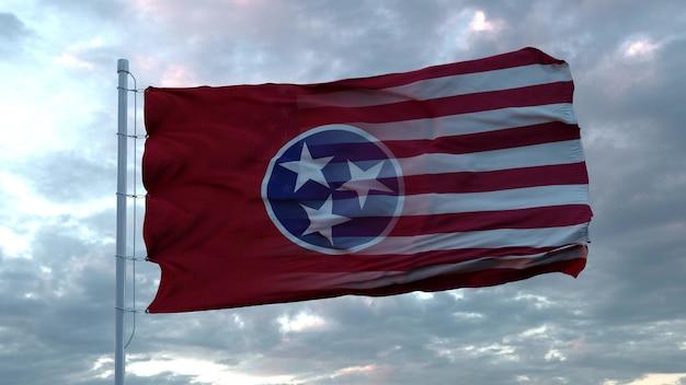 Mieszana flaga usa i tennessee powiewająca na wietrze