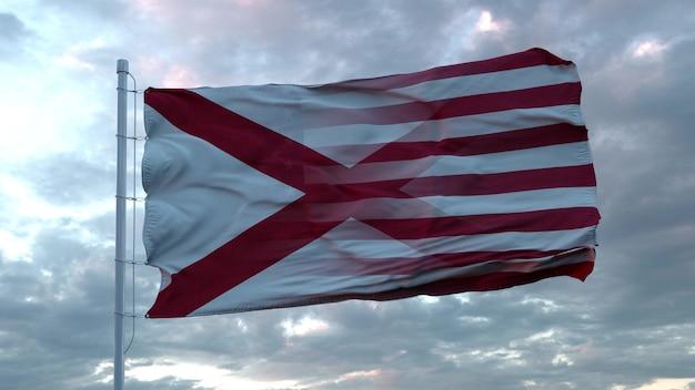 Mieszane flaga usa i alabamy macha na wietrze. flaga alabamy i usa na maszcie. renderowania 3d.