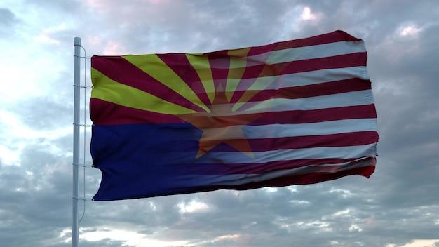 Mieszane flagi usa i arizony powiewają na wietrze