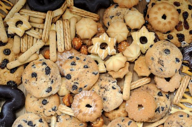 Mieszane tło ciasteczek z bliska