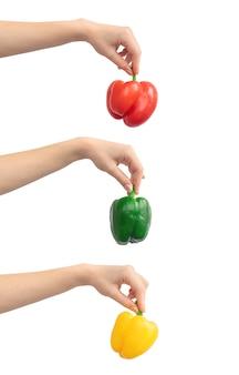 Mieszanka słodkiej papryki w ręku na białym tle na białym tle. świeże warzywa, zdjęcie koncepcji zdrowej żywności