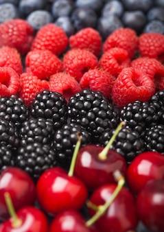 Mieszanka świeżych organicznych jagód letnich. maliny, truskawki, jagody, jeżyny i wiśnie.