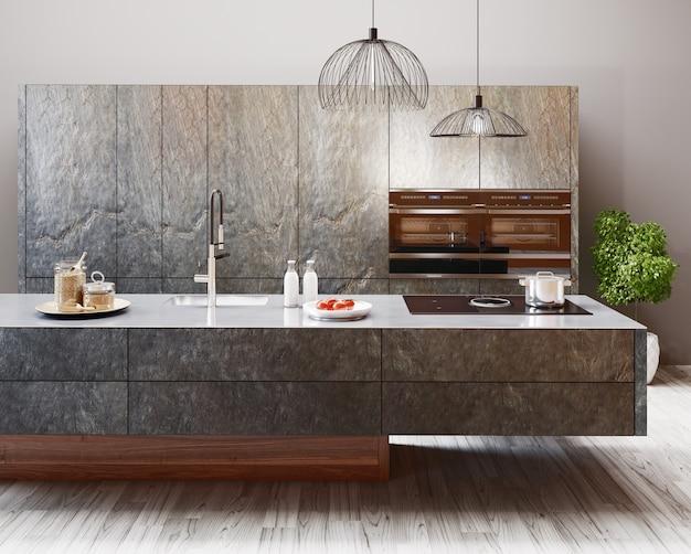 Mieszkalne wnętrze nowoczesnej kuchni w luksusowej rezydencji, renderowanie 3d
