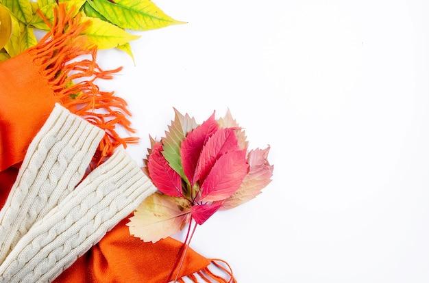 Mieszkanie leżało w ciepłe ubranie na jesień, szalik, buty, rękawiczki na białym tle w liście f