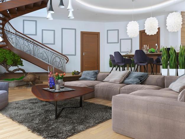 Mieszkanie w nowoczesnym stylu ze spiralnymi drewnianymi schodami prowadzącymi na drugi poziom