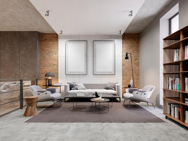 Mieszkanie w strefie open space z sofą i fotelem oraz udekorowaną ścianą z dwoma pustymi obrazami, makieta. regał z książkami. renderowanie 3d