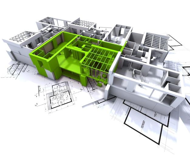 Mieszkanie zaznaczone na zielono na białej makiecie architektonicznej nad planami architekta