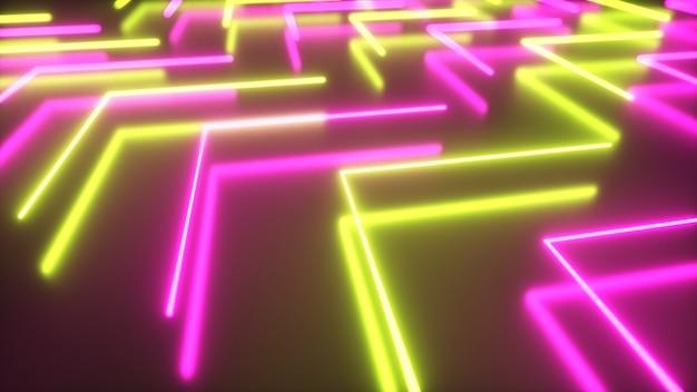 Migające jasne neonowe strzałki zapalają się i gasną wskazując kierunek na odblaskowej podłodze. streszczenie tło, pokaz laserowy. widmo ultrafioletowe neonowy żółty fiolet. 3d ilustracji