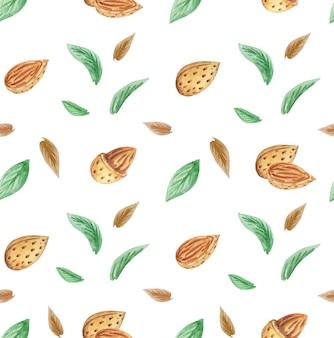 Migdały i liście wzór, wzór orzechy, ręcznie rysowane tła orzechów akwarela