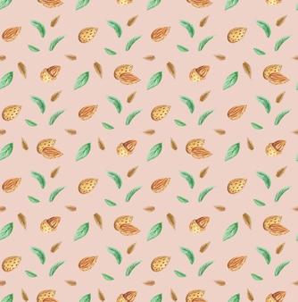 Migdały, orzechy i zielone liście wzór, akwarela ilustracja orzechów, migdały tło
