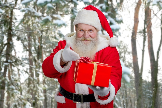 Mikołaj oferuje pudełko z prezentem.
