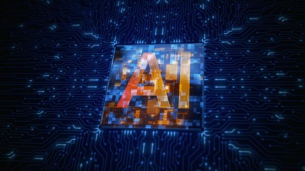 Mikrochip procesora na płytce drukowanej uruchamianie sztucznej inteligencji ai