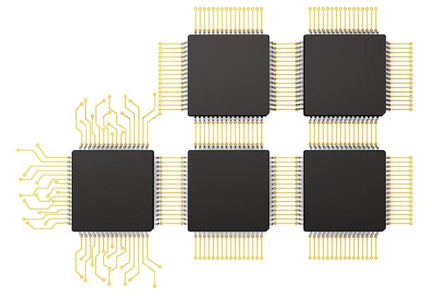 Mikrochipy cpu jako obwód na białym tle