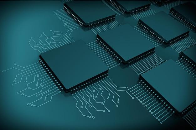 Mikrochipy cpu jako obwód na czarnym tle