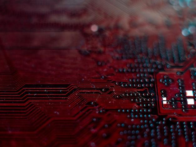 Mikrochipy komputerowe płyty zbliżenie mała głębia ostrości