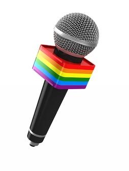 Mikrofon lgbt na białym tle