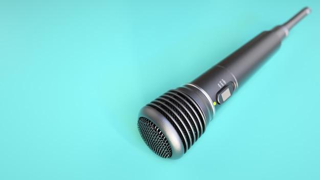 Mikrofon mike umieszczony na niebieskim tle. renderowania 3d i ilustracji.