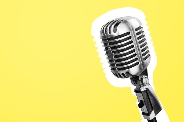 Mikrofon na żółtym tle (mikrofon, mikrofon pojemnościowy, mikrofon głosowy, mikrofon instrumentu,