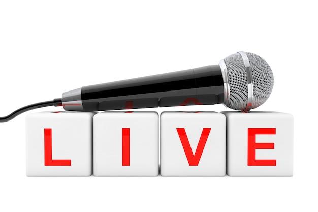 Mikrofon nad live cube zarejestruj na białym tle. renderowanie 3d