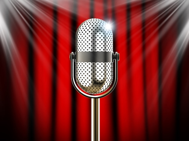 Mikrofon przeciwko czerwonej kurtyny z reflektorami