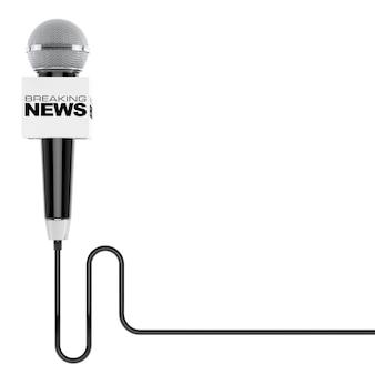 Mikrofon z breaking news box znak i wolnego miejsca na tekst na białym tle. renderowanie 3d