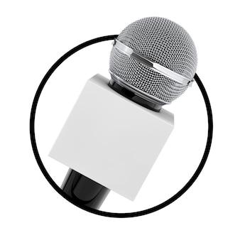 Mikrofon z polem miejsca kopiowania dla ciebie projekt jako ikona koło na białym tle. renderowanie 3d