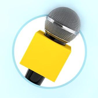 Mikrofon z polem miejsca kopiowania dla ciebie projekt jako ikona koło na niebieskim tle. renderowanie 3d