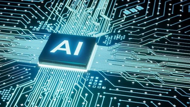 Mikroprocesor ai na obwodzie komputera płyty głównej, sztuczna inteligencja zintegrowana z jednostką centralną lub układem procesora, renderowanie 3d futurystyczne tło koncepcji technologii danych cyfrowych