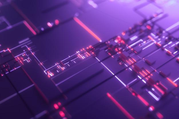 Mikroprocesor fioletowe futurystyczne tło 3d