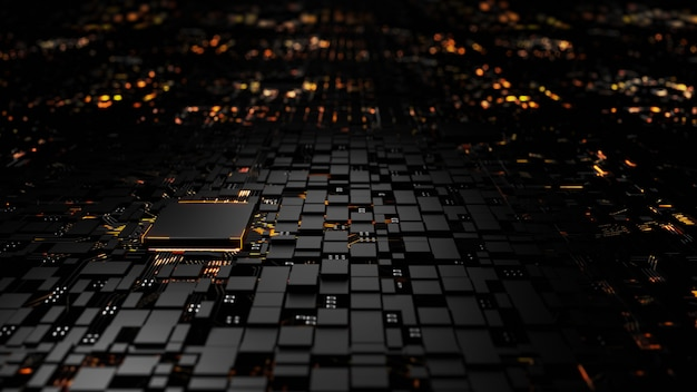 Mikroprocesorowa jednostka centralna procesora na podświetleniu
