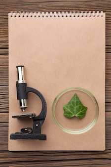 Mikroskop i notatnik z widokiem z góry