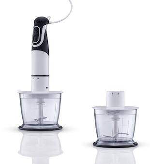 Mikser elektryczny z pojemnikiem na białym tle z odbiciem. urządzenia kuchenne