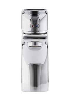 Mikser zimnej ciepłej wody. nowoczesna łazienka z kranem. bateria kuchenna . na białym tle biała powierzchnia. przedni widok.