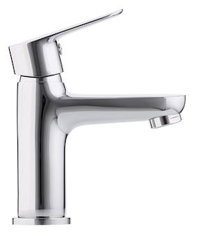 Mikser zimnej ciepłej wody. nowoczesna łazienka z kranem. bateria kuchenna . na białym tle biała powierzchnia. widok z boku.