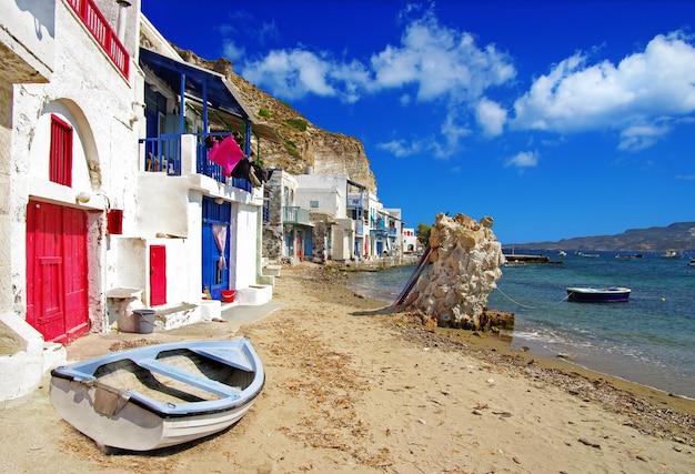 Milos - tradycyjna wioska rybacka mandrakia, piękne wyspy grecji, cyklady