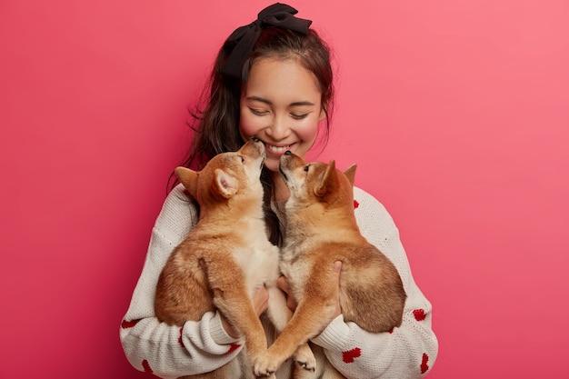 Miłość, czułość, ciepło i zrozumienie bez słów. wesoła koreanka otrzymuje buziaka od dwóch rodowodowych szczeniąt, nie wyobraża sobie życia bez zwierzaków, bawi się z najlepszymi przyjaciółmi zwierzątek.