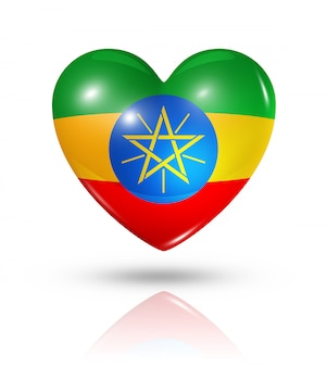 Miłość ikona flagi serca etiopii