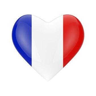 Miłość koncepcja francji. flaga francji w kształcie serca na białym tle renderowanie 3d