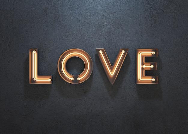 Miłość neonowy znak na ciemnym tle