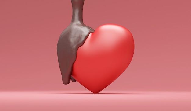 Miłość serce przelewa się z mleczną czekoladą na tle studio