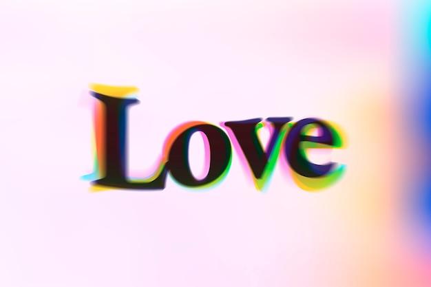 Miłość słowo w typografii tekstu anaglifowego