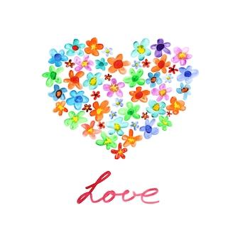 Miłość. symbol serca kwiatów akwarela. kartka na dzień świętego walentego. ilustracja rastrowa