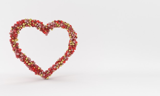 Miłość w kształcie serca z czerwonego złota i szklanych kulek na białym tle