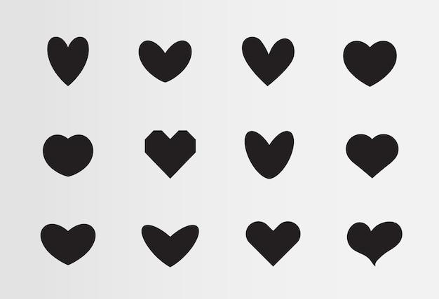Miłość wektor zestaw symboli czarne sylwetki serc różne ikony zestaw znaków dla świętego walentynki