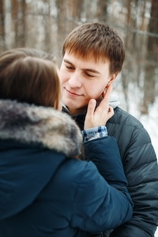 Miłości para w ferie zimowe